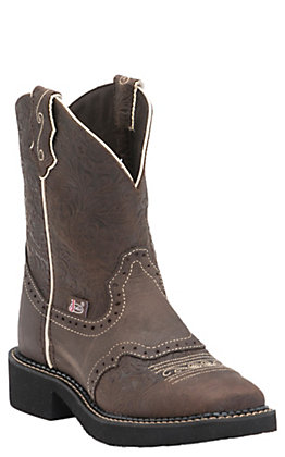Justin Women's Gypsy Collection Brown Flower Embossed Perforated Saddle Vamp Square Toe Boots