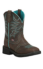 Justin Women's Chocolate with Turquoise Stitching Square Toe Gypsy Boots