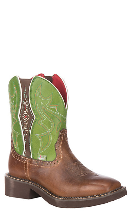 5399e49693a Justin Women's Gypsy Collection Tan Buff Leather Western Wide Square Toe  Boot