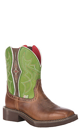 Justin Women's Gypsy Collection Tan Buff Leather Western Wide Square Toe Boot