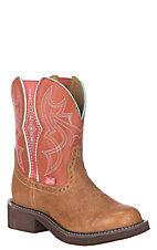 Justin Women's Gypsy Collection Tan Buff and Tobasco Leather Western Wide Square Toe Boot