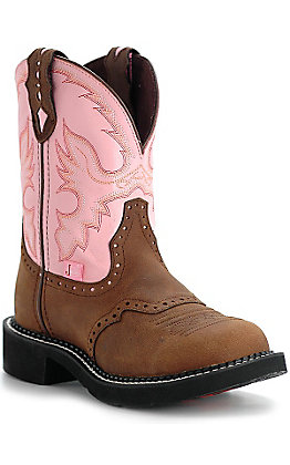 Justin Women's Gypsy Collection Brown and Pink Round Toe Western Boot