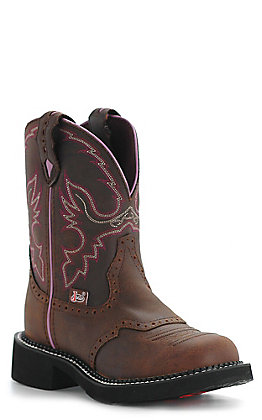 Justin Women's Gypsy Collection Distressed Brown with Pink Stitch Round Toe Western Boots