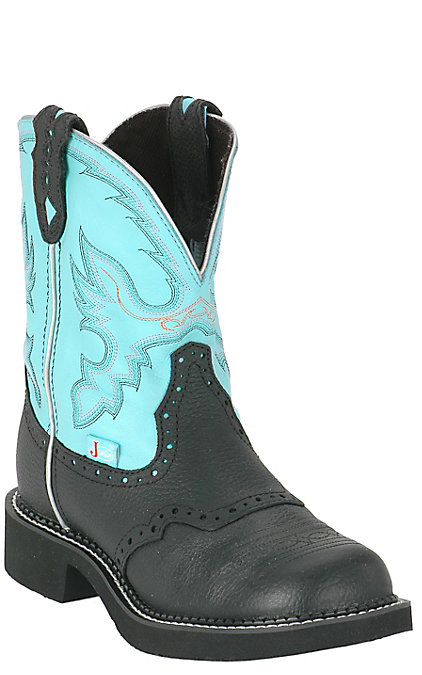 bbcf7d2f55e Justin Gypsy Collection Women's Black & Aqua Blue Round Toe Western Boots