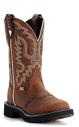 Justin Gypsy Collection Women's Distressed Brown Round Toe Western Boots