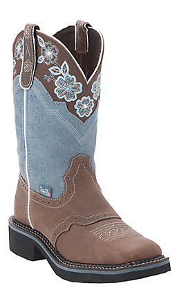 Justin Gypsy Collection Women's Barnwood Brown with Blue Top Perfed Saddle Vamp Square Toe Boots