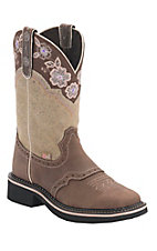 Justin Gypsy Collection Women's Barnwood Brown w/ Bone Top Perfed Saddle Vamp Square Toe Boots