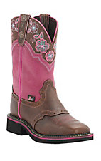 Justin Gypsy Collection Women's Pecan Brown w/ Tiara Pink Top Perfed Saddle Vamp Square Toe Boots