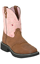 Justin Ladies Square Toe Gypsy Collection ? Brown w/Pink Top