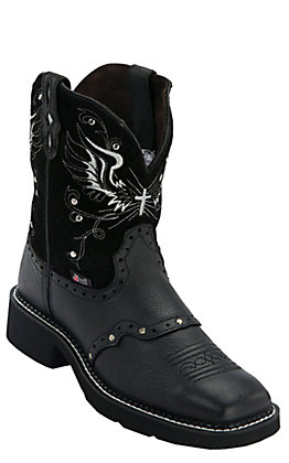 Justin Women's Gypsy Collection Black Deercow with Silver Rivets Square Toe Boots
