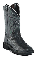 Justin Gypsy Collection Ladies Black Pearl Print Cowhide Square Toe Boots