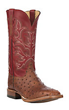 Justin Men's Cognac Full Quill Ostrich w/ Red Upper Exotic Western Square Toe Boots