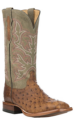 Justin Men's Tan Full Quill Ostrich with Green Upper Exotic Western Square Toe Boots