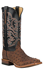 Justin Men's Brown Brandy Full Quill Ostrich w/ Black Upper Exotic Western Square Toe Boots