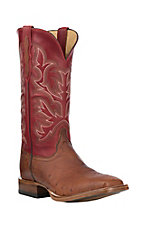 Justin Men's Cognac Smooth Ostrich w/ Red Upper Exotic Western Square Toe Boots