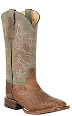 Justin Men's Tan Smooth Ostrich with Green Upper Exotic Western Square Toe Boots