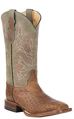 Justin Men's Tan & Green Smooth Ostrich Square Toe Exotic Western Boots