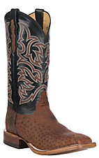 Justin Men's Brown Brandy Smooth Ostrich w/ Black Upper Exotic Western Square Toe Boots