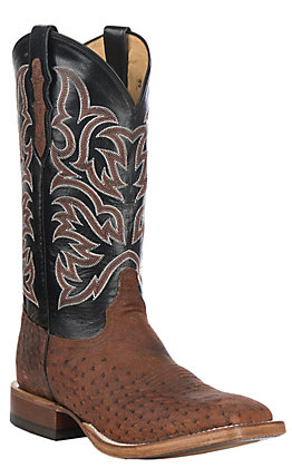 Justin Men's Brown Brandy Smooth Ostrich Square Toe Exotic Western Boots