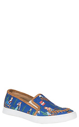 Reba by Justin Women's Navy Alice Cowgirl Slip-On Casual Shoes