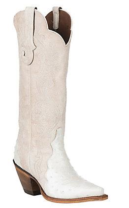 Reba by Justin Women's Beige Chelsea Pearl Exotic Western Snip Toe Boots