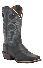 Justin Men's Silver Collection Black Deercow with Blue/Grey Top Saddle Vamp Punchy Square Toe Western Boots