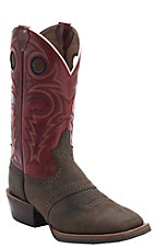 Justin Men's Silver Collection Chocolate Buffalo w/Red Torino Top Double Welt Saddle Vamp Square Toe Western Boots
