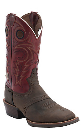 Justin Men's Silver Collection Chocolate Buffalo with Red Torino Top Double Welt Saddle Vamp Square Toe Western Boots