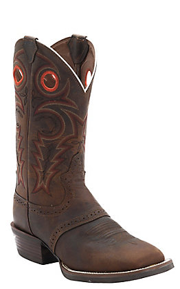 Justin Men's Silver Collection Whiskey Buffalo Double Welt Saddle Vamp Square Toe Western Boots