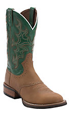 Justin Men's Silver Collection Tan Buffalo with Green Top Double Welt Saddle Vamp Round Toe Western Boots