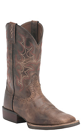 Justin Men's Silver Collection Antique Brown Buffalo Double Welt Square Toe Western Boots