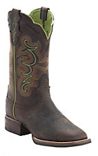 Justin Ladies Silver Collection Chocolate Buffalo Double Welt Square Toe Western Boots
