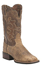 Justin Women's Silver Collection Beige Wax Croc Print with Brown Goat Top Double Welt Square Toe Western Boots