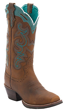 Justin Silver Collection Women's Brown Buffalo & Turquoise Detail Punchy Toe Western Boots
