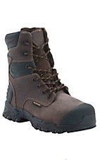 Justin Work Tek Sabre Mens 8in Brawny Brown Composite Round Toe Waterproof Thinsulate Lacer Work Boots