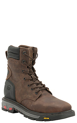 Justin Commander X5 Men's 8in Timber Brown Square Steel Toe Lacer Work Boots