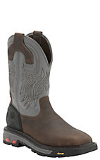 Justin Commander X5 Men's Timber Brown with Gunmetal Gray Top Square Steel Toe Pull On Work Boots