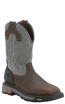 Justin Tanker Men's Timber and Gunmetal Grey Square Steel Toe Work Boots