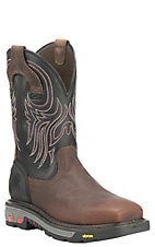 Justin Commander X5 Men's Timber Brown with Black Top Square Steel Toe Pull On Work Boots