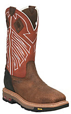 Justin Men's Commander X5 Chestnut with Red Upper Square Steel Toe Western Workboots