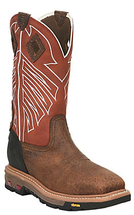 Justin Roughneck Men's Chestnut and Red Square Steel Toe Work Boots