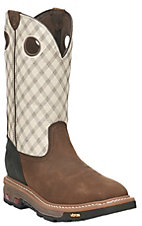 Justin Men's Commander X5 Tan with Bone Upper Square Toe Western Workboots