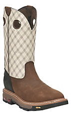 Justin Men's Commander X5 Tan with Bone Upper Square Steel Toe Western Workboots