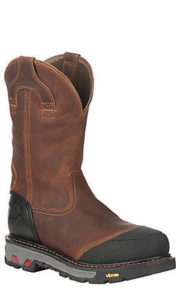 Justin Men's Dual Density Brown Waterproof Round Composite Toe Work Boot