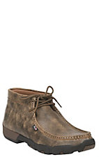 Justin Men's Tan Lace Up Steel Toe Bomber Style Driving Moccasin Work Boots