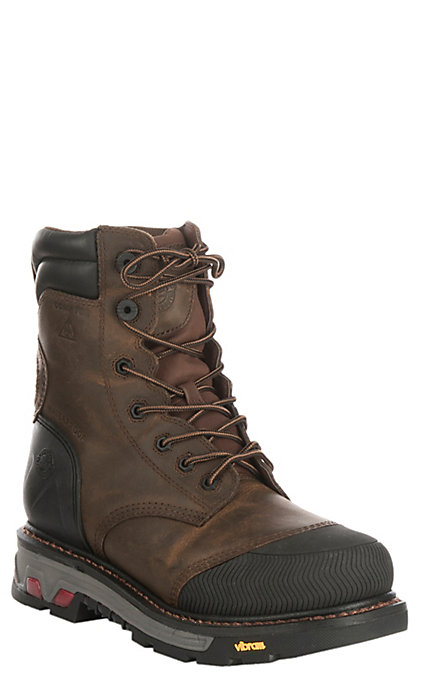 e7eb5204a72 Justin Warhawk Men's Mechanic Tan Round Composite Toe Lace Up Work Boots