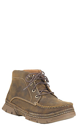 Justin Men's Distressed Tan Steel Toe Lace Up Work Boot