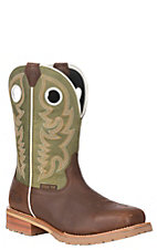 Justin Men's Dark Brown and GreenOrtholite Steel Square Toe Work Boot