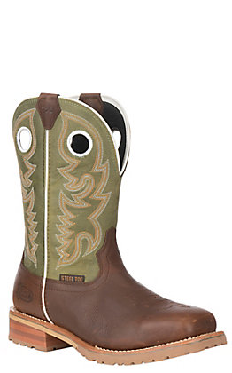 Justin Marshal Men's Dark Brown and Agave Green Square Steel Toe Work Boots