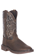 Justin Original Work Boots Men's Chocolate and Chocolate Stampede EH Round Toe Work Boots